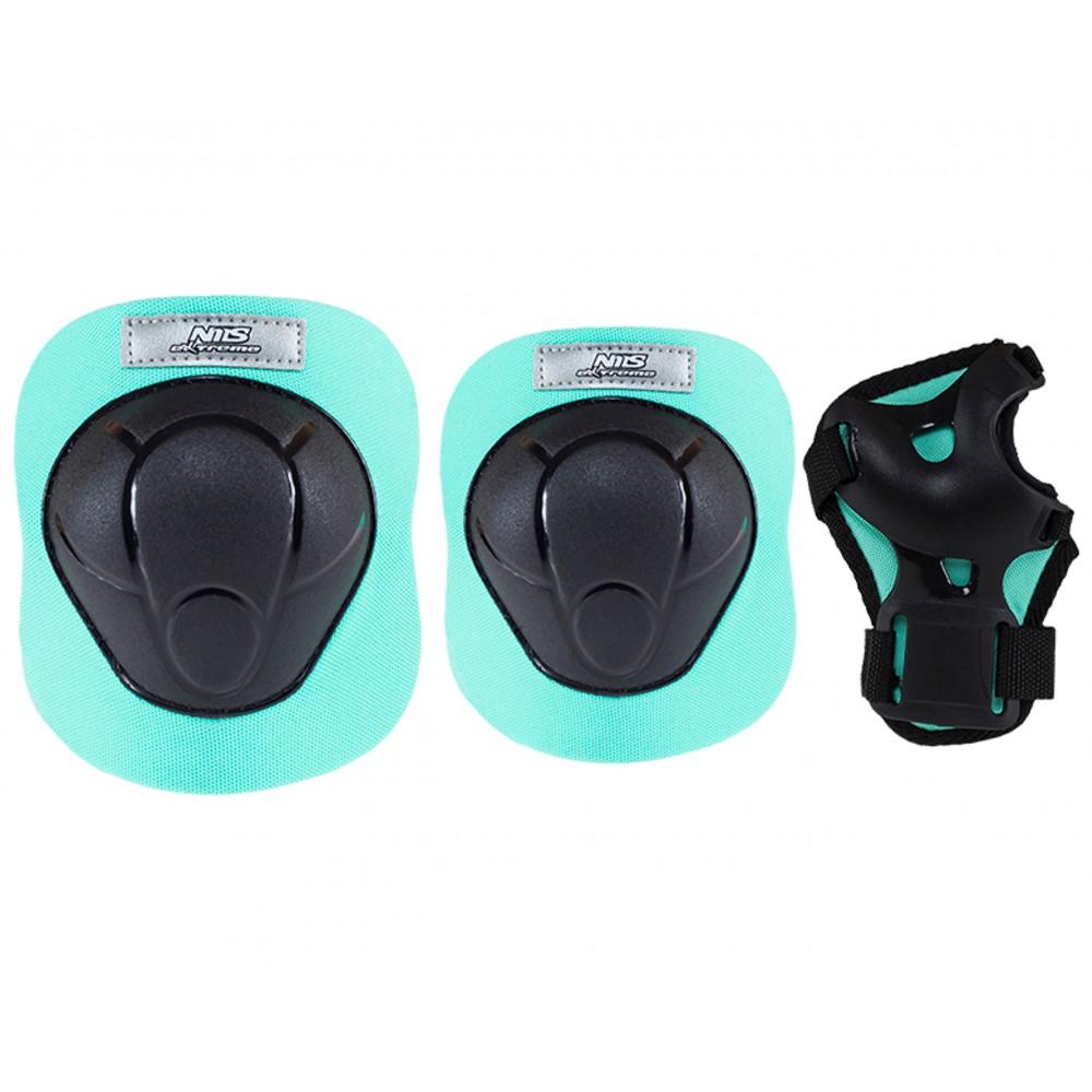 Ochraniacze-komplet-kolano-łokieć-nadgarstek-rozmiar-S-czarno-miętowe-H210-NILS_1