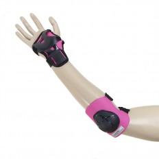 Ochraniacze-komplet-kolano-łokieć-nadgarstek-rozmiar-M-czarno-różowe-H210-NILS_6