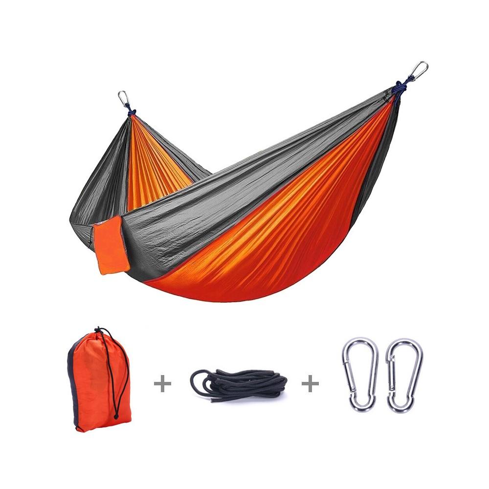 hamak-turystyczny-nylonowy-na-kemping-pomarańczowo-szary-4CAMP-1